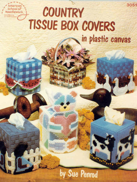 Country Tissue Box Covers in plastic canvas