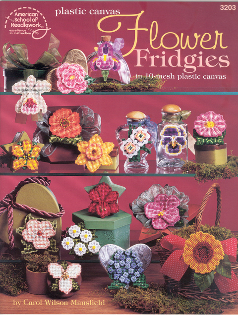 Plastic Canvas Flower Fridgies in 10-mesh canvas