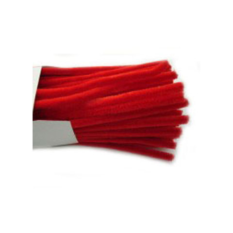 Chenille Sticks 12mm; Red 100p