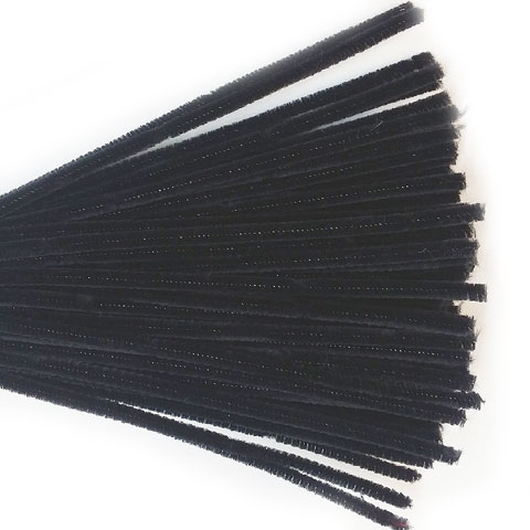 Chenille Sticks 6mm; Black 100p