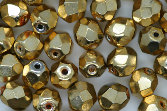 6mm Faceted Beads Gold Bulk