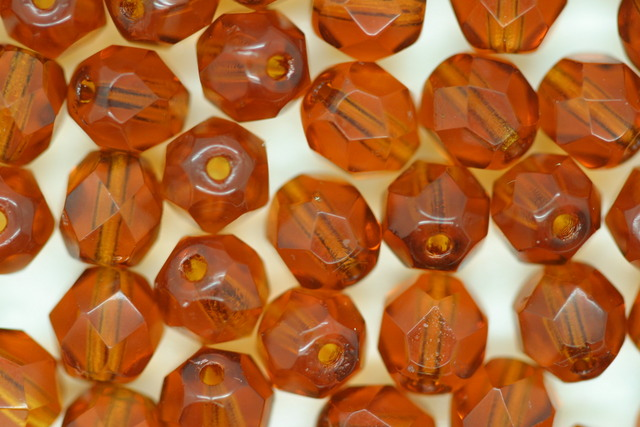 6mm Faceted Beads Amber 10 grams