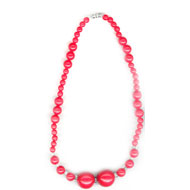 Necklace in Red Round Beads