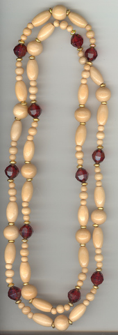 Necklace in Mixed Size Natural Wood Beads,Gold Rondels, F Beads
