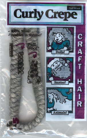 Curly Crepe Wool Hair; Grey