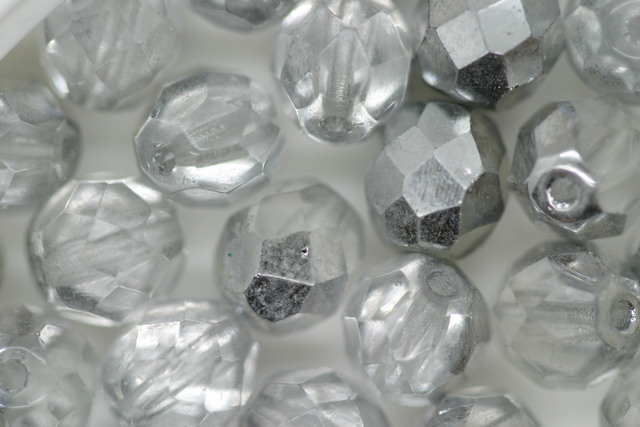 8mm Faceted Beads Silver Bulk